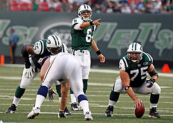 Aug 14, 2009; East Rutherford, NJ, USA;   New York Jets quarterback Mark Sanchez (6) during his 1st NFL game against the St. Louis Rams at Giants Stadium.