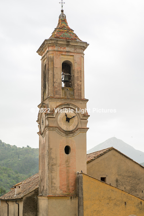 Close-up of the church steeple in L'Escarene.