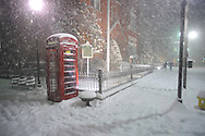 Telephone booth outside of City Hall in the snow in Oxford, Miss., on Sunday, January 9, 2011.