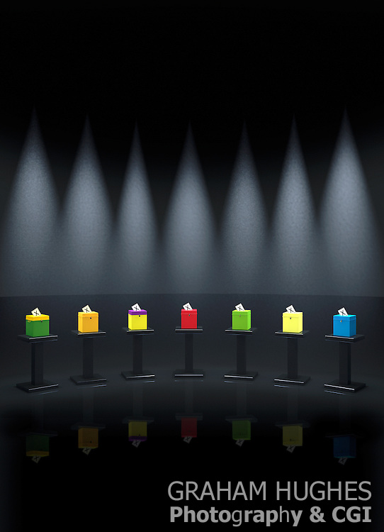 Different Coloured UK Political Party Ballot Boxes On Podiums In TV Studio Setting
