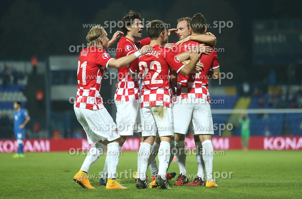 13.10.2014, Stadion Gradski vrt, Osijek, CRO, UEFA Euro Qualifikation, Kroatien vs Aserbaidschan, Gruppe H, im Bild Jubel Kroatien // during the UEFA EURO 2016 Qualifier group H match between Croatia and Azerbaijan at the Stadion Gradski vrt in Osijek, Croatia on 2014/10/13. EXPA Pictures &copy; 2014, PhotoCredit: EXPA/ Pixsell/ Igor Kralj<br /> <br /> *****ATTENTION - for AUT, SLO, SUI, SWE, ITA, FRA only*****