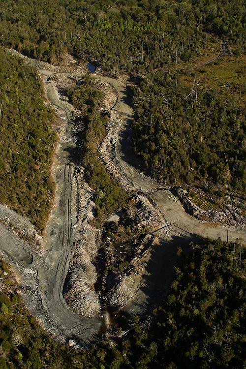 Logging roads on Chiloe Island, Chile, Feb. 11, 2004. Daniel Beltra/Greenpeace.