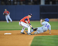 Florida's Kamm Washington (14) steals second as Mississippi's Alex Yarbrough takes the throw at Oxford-University Stadium on Friday, March 26, 2010 in Oxford, Miss. Ole Miss won 3-2.