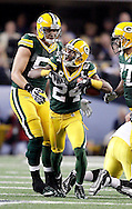 Green Bay Packers' Jarrett Bush celebrates his interception of a Pittsburgh Steelers' Ben Roethlisberger pass in the 2nd quarter. .The Green Bay Packers played the Pittsburgh Steelers in Super Bowl XLV,  Sunday February 6, 2011 in Cowboys Stadium. Steve Apps-State Journal.