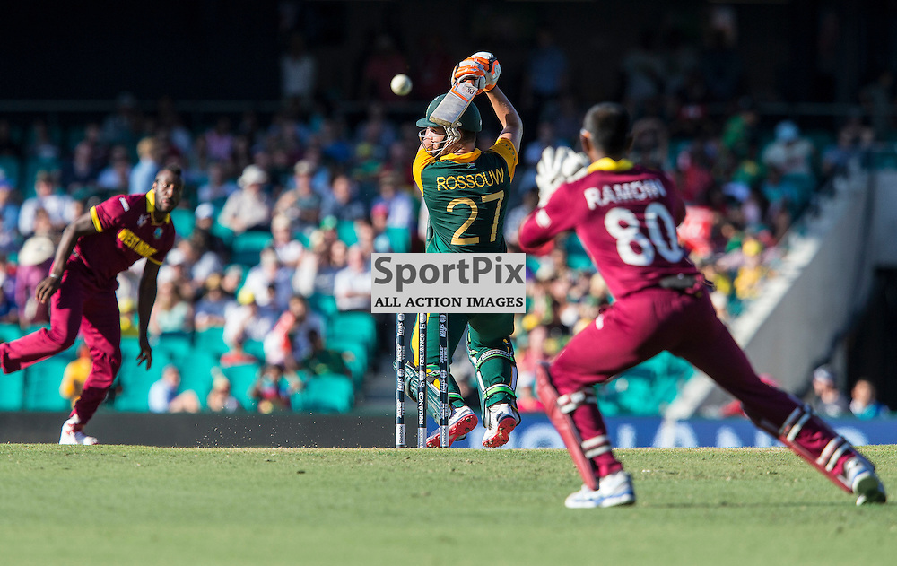 ICC Cricket World Cup 2015 Tournament Match, South Africa v West Indies, Sydney Cricket Ground; 27th February 2015<br /> South Africa&rsquo;s Rilee Rossouw attempts a cut shot and edges to keeper West Indies Denesh Ramdin