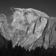 Half Dome And Wispy Clouds - Yosemite Valley Meadow - Yosemite - Black & White