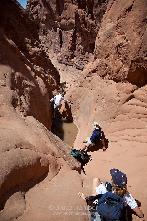 Descending an obscure route in Canyonlands National Park, Utah