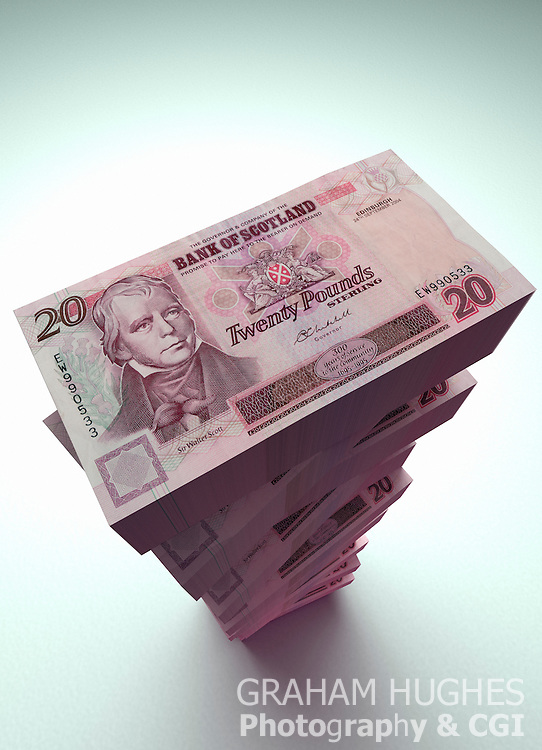 Large stack of Bank Of SCotland Bank Notes