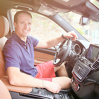 Drew Brees receives a new Mercedes Benz in front of his home in Del Mar, California on Friday, March 17, 2017.(Photo by Sandy Huffaker/Mercedes Benz)