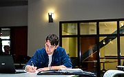 Brazil Scientific Mobility Program student Yuri Rocha works on his Thermodynamics homework Thursday in the Academic and Research Center lobby