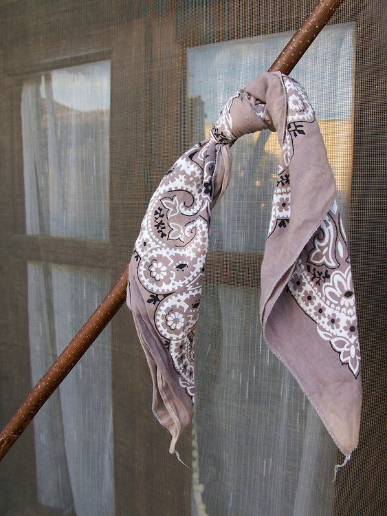 One walker had tied his scarf to his walking staff. It rested against a window one evening at one of the albergues.