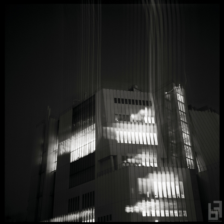 Kodak Tri-X film exposure of Renzo Piano's museum masterpiece The Whitney.  Taken on a cold evening in the fall of 2016, the shutter was stuck open due to the frigid temperatures, causing the light streaks on the film plane.