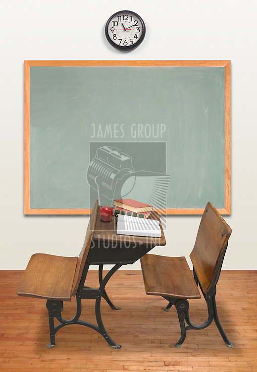 Vintage classroom with chalkboard and clock