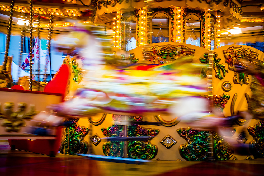 Carousel horse on a fairground ride, England