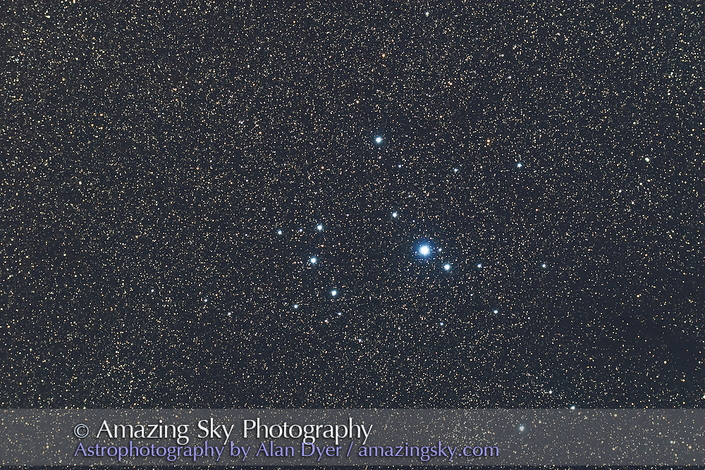 IC 2602 Southern Pleiades Cluster in Carina. Mel 101 at bottom. Taken with 4-inch AP Traveler apo refractor at f/4.5 with Canon 20Da camera at ISO 800 for stack of 4 x 3 minute exposures. Taken from Coonabarabran