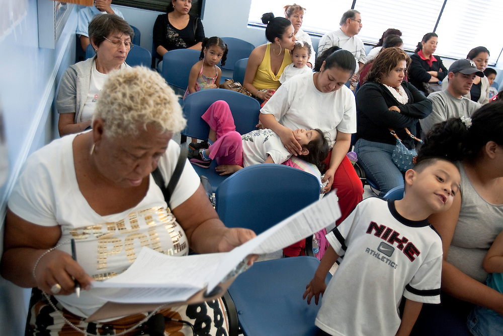 The crowded waiting room at the South Central Family Health Center in Los Angeles, CA as patients wait for medical care. Please Contact Me With Licensing Questions or Requests. Please contact Todd Bigelow directly with your licensing requests.
