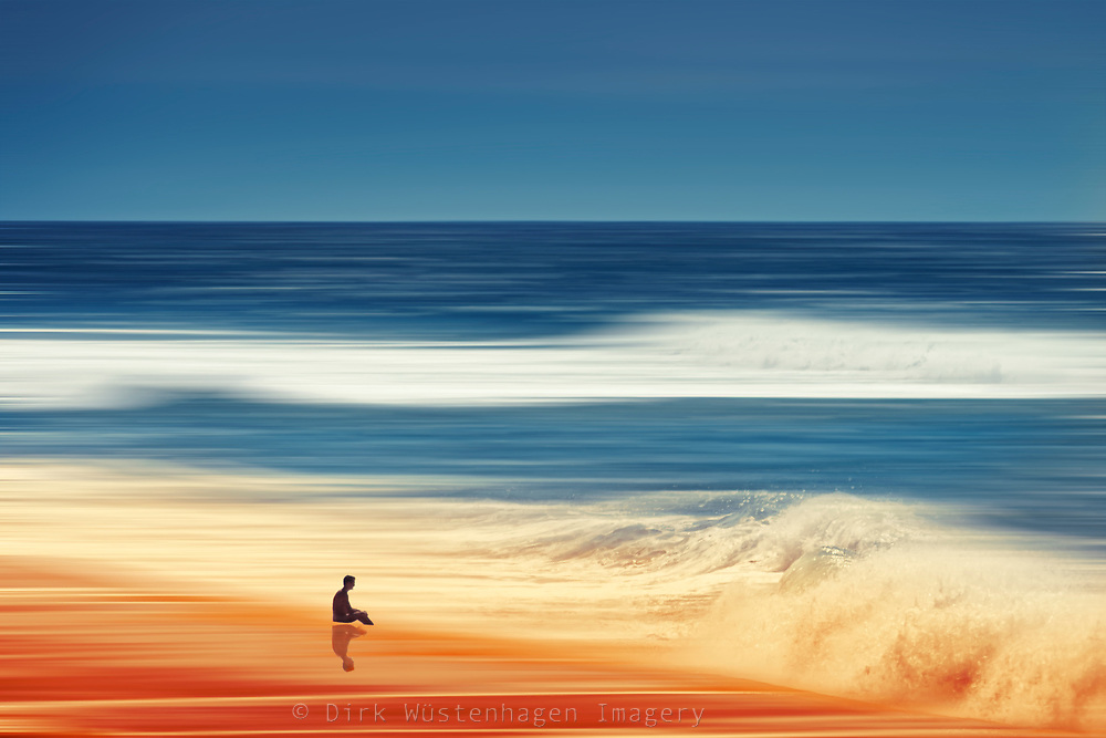 Abstraction of a person sitting on the beach<br /> <br /> Prints &amp; more:<br /> <br /> http://society6.com/DirkWuestenhagenImagery/Pondering-Silence_Print