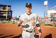 SAN FRANCISCO, CA - APRIL 18:  Joe Panik #12 of the San Francisco Giants shows off his  2014 World Series ring during the San Francisco Giants World Series ring ceremony at AT&T Park on Saturday, April 18 2015 in San Francisco, California. Photo by Jean Fruth