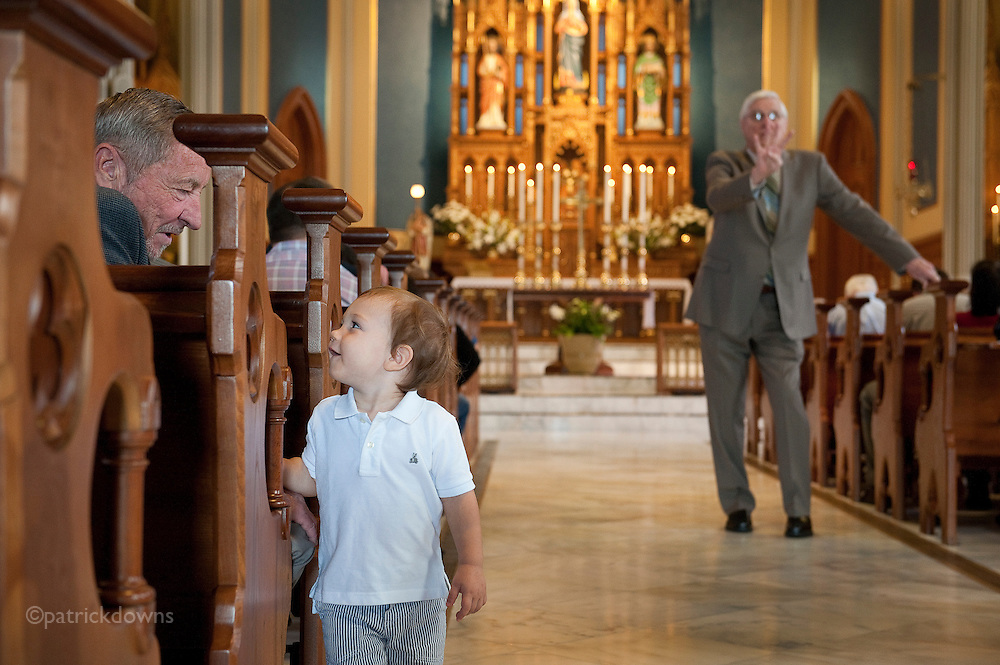 Easter Sunday, a boy with grandpa at St. James Church, built in 1884. Vancouver, WA