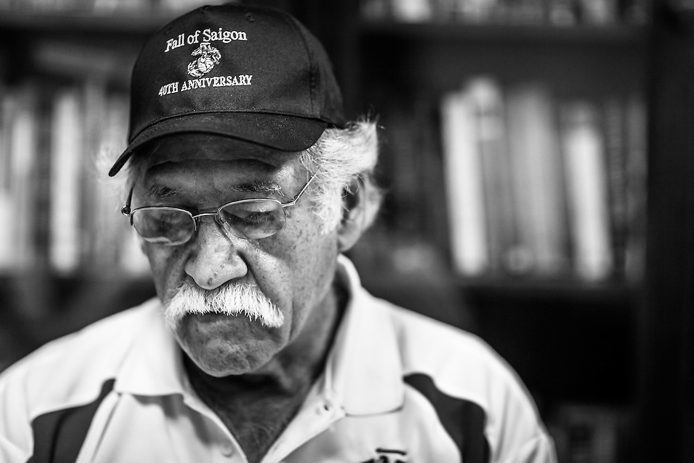 Juan Valdez, former USMC security at the US embassy in Saigon, sits in interview on the same grounds exactly 40 years after the evacuation that signaled the end of the Vietnam War on April 30th, 1975. He was also the final Marine to board the final helicopter leaving Saigon.