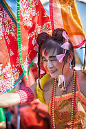 Taiwanese performer in an elaborate costume at a parade.