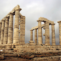 Europe, Greece, Cape Sounion. The Temple of Poseidon at Cape Sounion, a day's excursion from Athens.