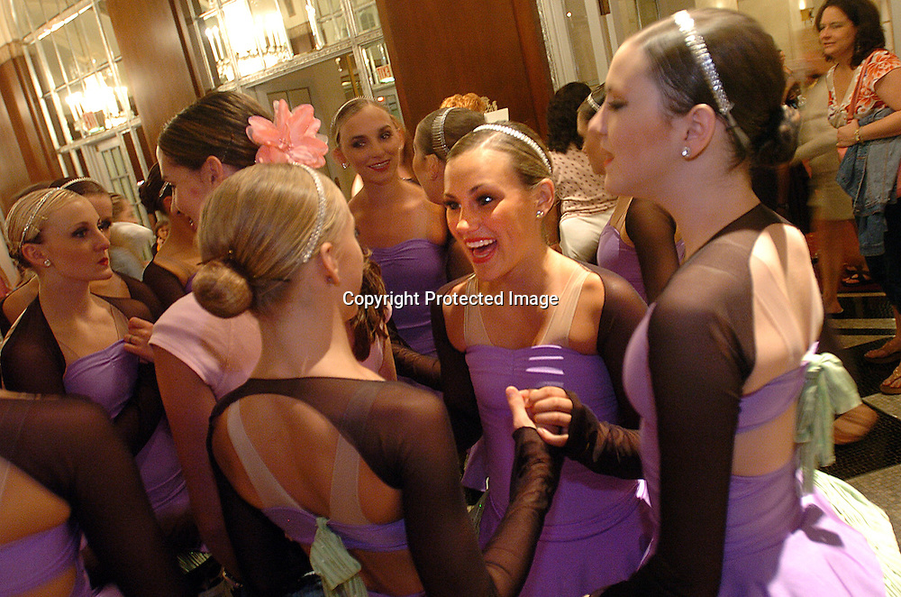 The Dance Club of Orem, Utah celebrate their performance during the New York Dance Alliance's national competition finale July 5, 2005 in New York City.<br />