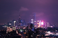 Pudong seen at night from central Shanghai China