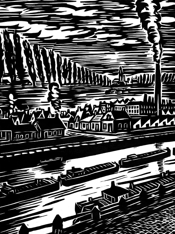 Pure black / white drawing of a village on a river.