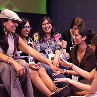 Members of SAWCC (South Asian Women's Creative Collective) -- Roopa Singh, Minal Hajratwala, Yesha Naik, Kavitha Rajagopalan, and Anjali Goyal -- at the Bloomberg reception for the 2009 SAJA Convention