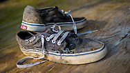 Pair of Worn Vans Trainers / Sneakers - May 2014.