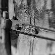 Distressed Wood Fencepost Rusted Hinge - North Owens Valley - Lensbaby - Black & White
