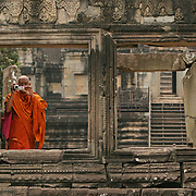 Monk on tour, Angkor Temples, Cambodia