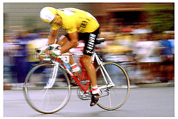 Davis Phinney, wearing the Race Leader Jersey, on his way to his eventual overall win..Aspen Criterium, 1988 Coors Classic