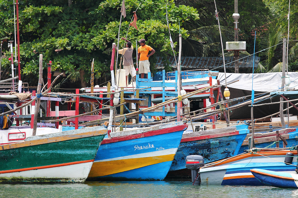 Colourful fishing boats at Mirissa Harbour, along Sri Lanka's southern coast
