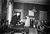 1966 - President Eamon de Valera presents prizes  for 1916 literature competition