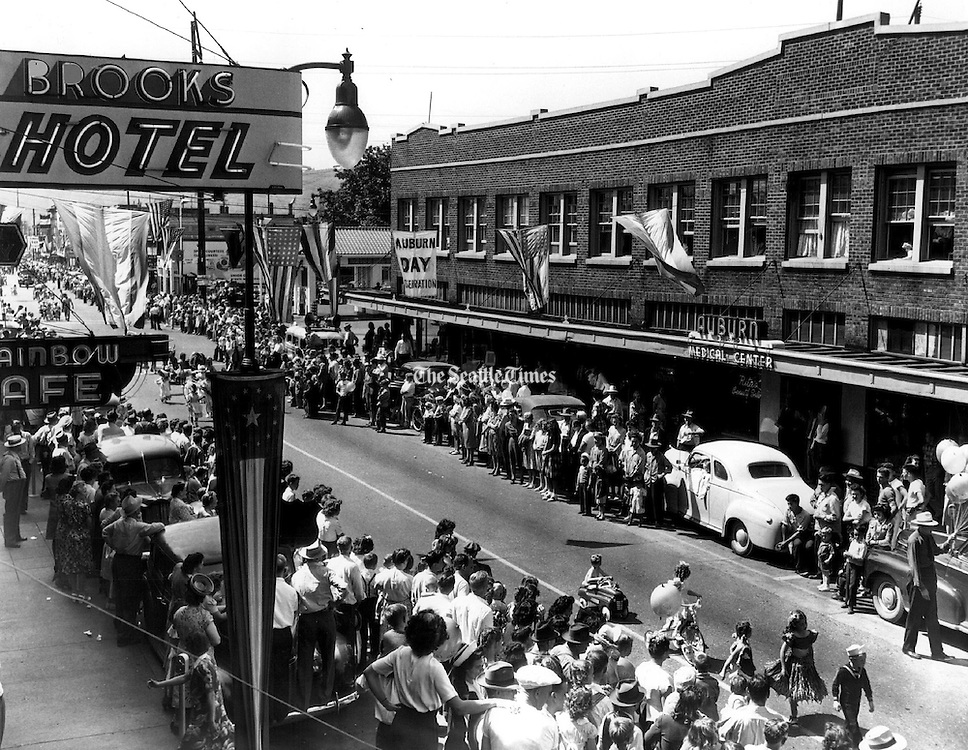 "The Auburn Day fete claims the title, ""Oldest Celebration in the State."" (John T. Closs / The Seattle Times, 1947)"
