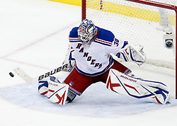 Oct 5, 2009; Newark, NJ, USA; New York Rangers goalie Henrik Lundqvist (30) makes a save during the second period at the Prudential Center.