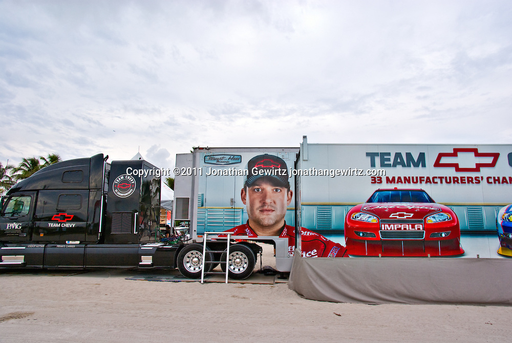 Team Chevy trailer truck parked on Miami Beach during a NASCAR promotional event. WATERMARKS WILL NOT APPEAR ON PRINTS OR LICENSED IMAGES.