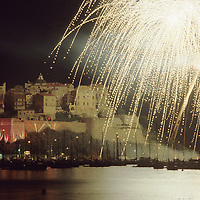 Firework light up the Zitadell on Calvi, in this editorial travel photograph.