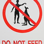 """""""Do not feed"""" the kangaroos is shown symbolically on a red-orange sign in Australia."""