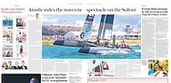 America's Cup World Series sailing photography features in the Sunday Telegraph. Image by professional photographer Christopher Ison, Hampshire UK.