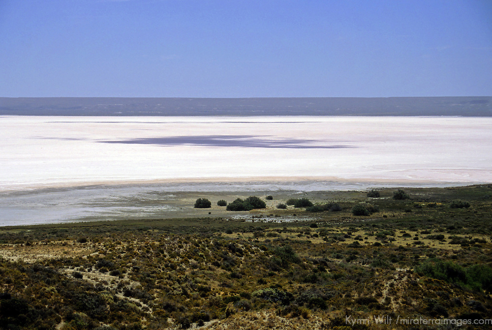 South America, Argentina, Peninsula Valdes. Salt Lake below sea level.