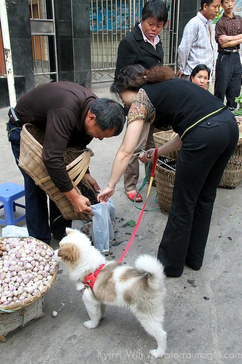 Asia, China, Chongqing. Local street market scene in the city of Chongqing.