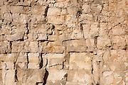Detail of rock limestone rock of old limestone quarry workings at Leckhampton Hill, Cheltenham, Gloucestershire