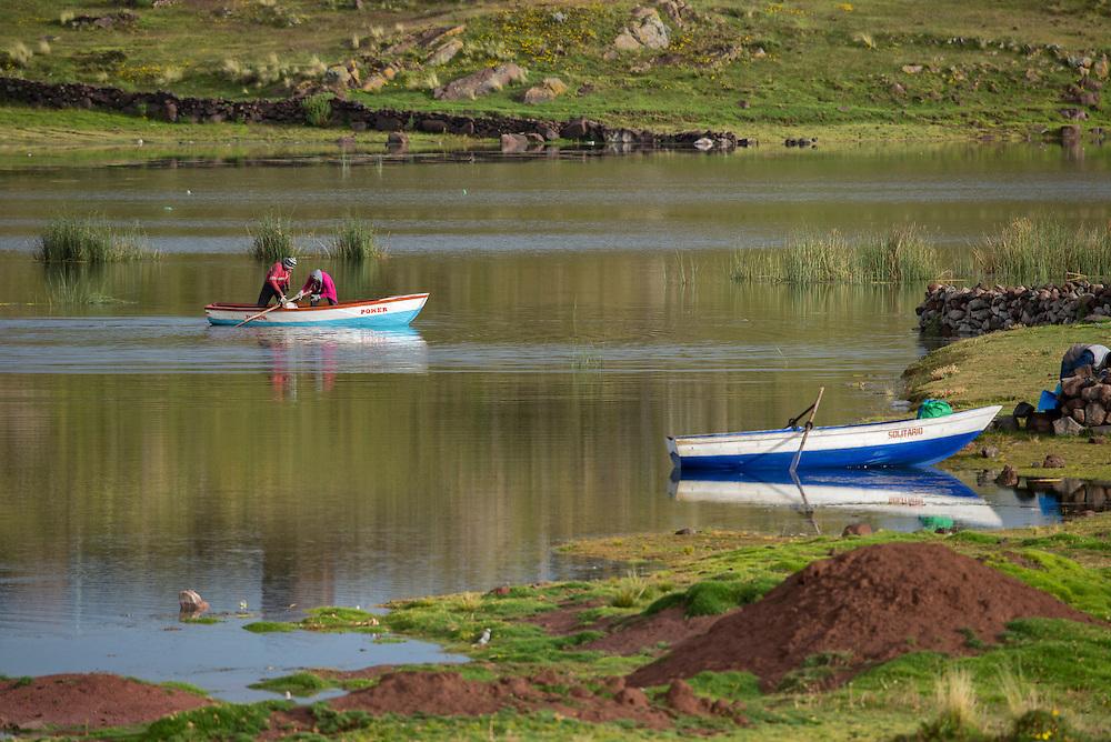 South America, Peru,Sillustani, native people fishing near Sillustani