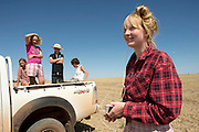 The Reilly kid's with friends. Left to right, Kiri-Lee Ward, Pippa Reilly, James Reilly, Ben McNee and Holly Reilly (foreground) on the Reilly family wheat farm. Wyalkatchem, Western Australian Wheatbelt. 09 December 2012 - Photograph by David Dare Parker