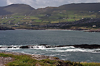 A view looking at Derrynane Beach on the Iveragh Peninsula, County Kerry, Western Ireland. Caherdaniel is located on the Iveragh Peninsula on the famous Ring of Kerry...Caherdaniel is part of the Bay of Derrynane, which is part of the great bay of Kenmare.