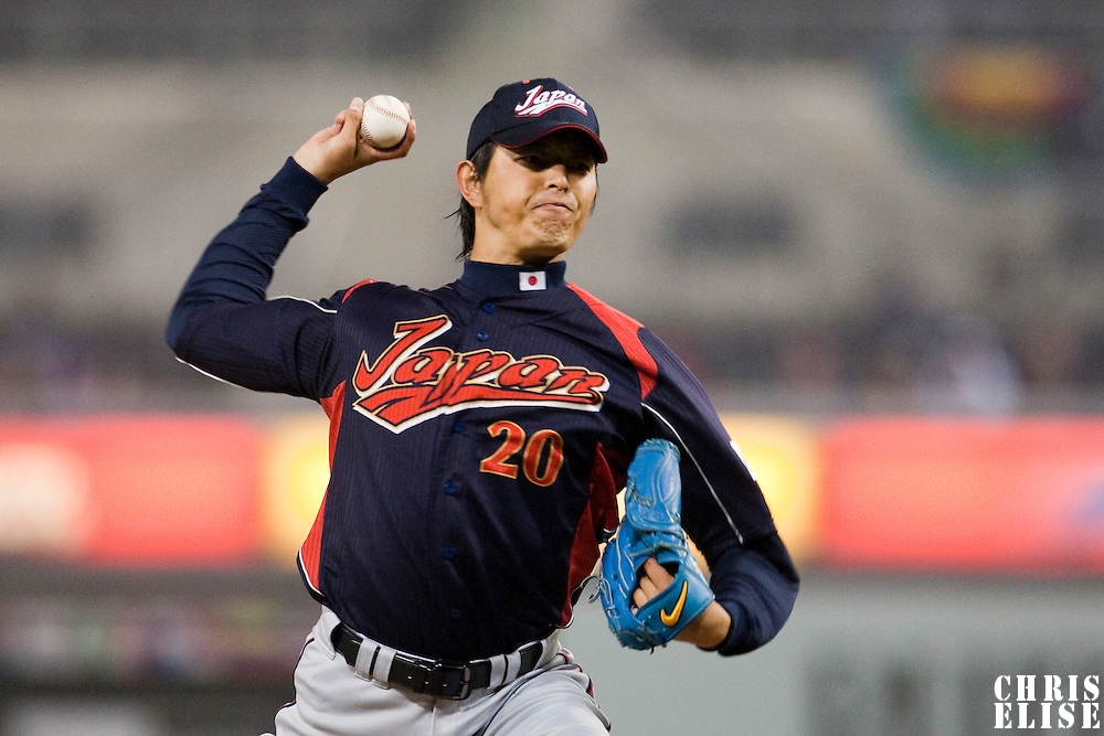 18 March 2009: #20 Hisashi Iwakuma of Japan pitches against Cuba during the 2009 World Baseball Classic Pool 1 game 5 at Petco Park in San Diego, California, USA. Japan wins 5-0 over Cuba.