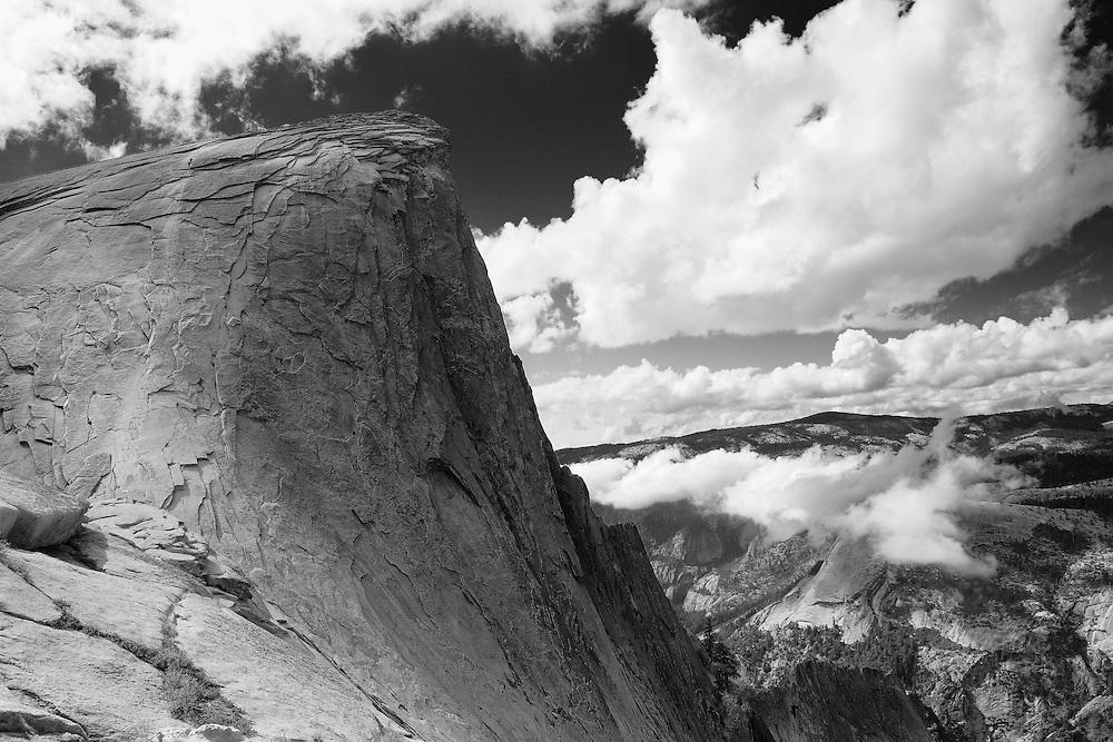 Half Dome North Saddle Edge Overlook - Yosemite - Black & White